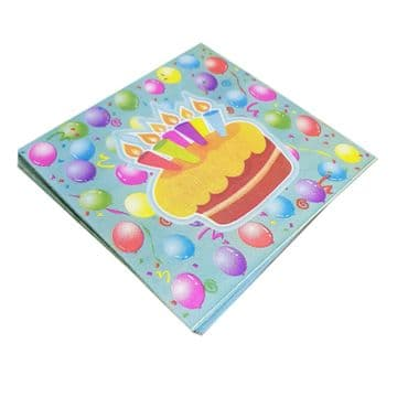 2 packs (40) x HAPPY BIRTHDAY PARTY CAKE NAPKINS picnic food bbq